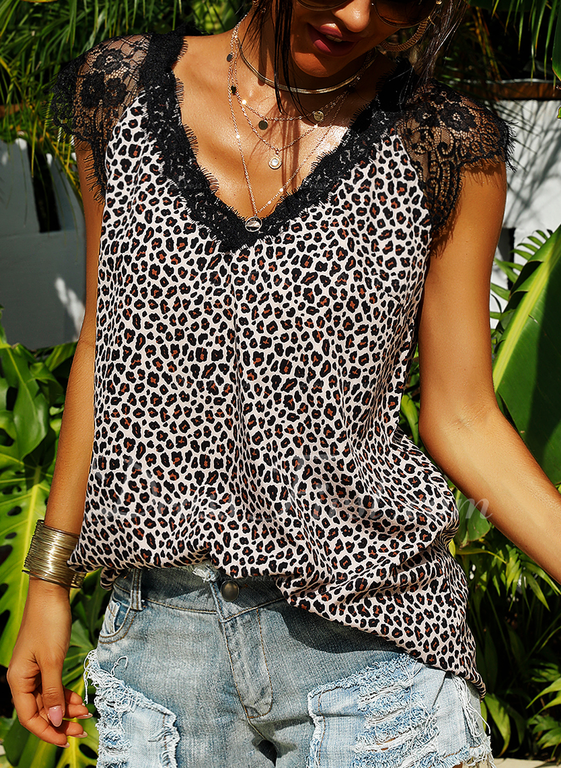 Leopard Lace Patchwork V-Neck Cap Sleeve Casual