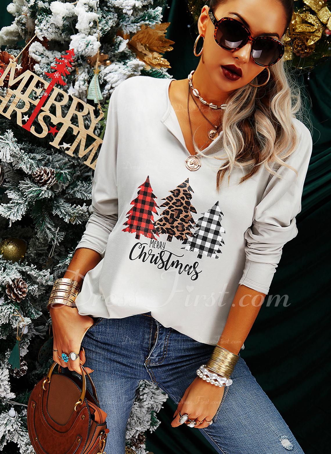 leopardo Figura Stampa Scollatura a V Maniche lunghe Casuale Natale Camicie