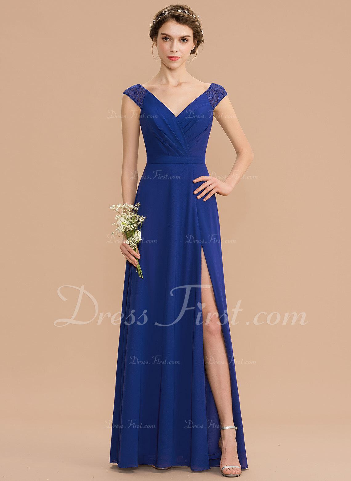 c8ed511456 Corte A Decote V Longos Tecido de seda Renda Vestido de madrinha com ...