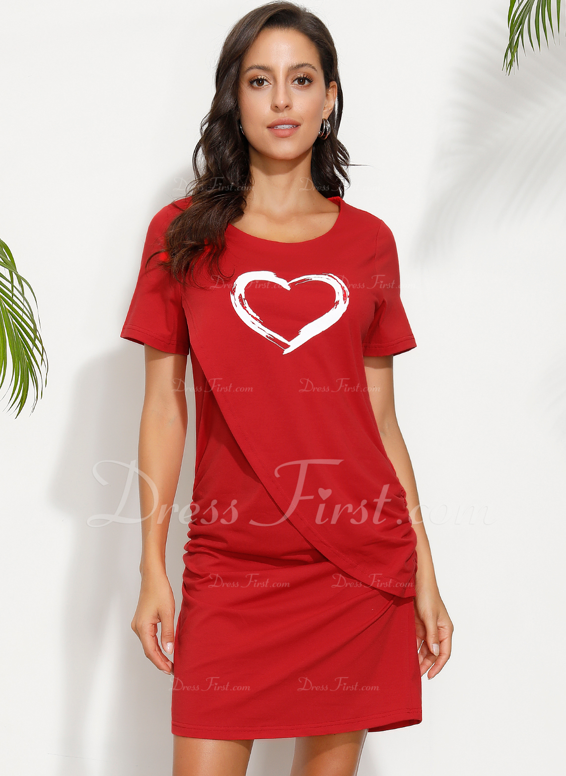 Print Bodycon Korte ærmer Mini Casual T-shirt Mode kjoler