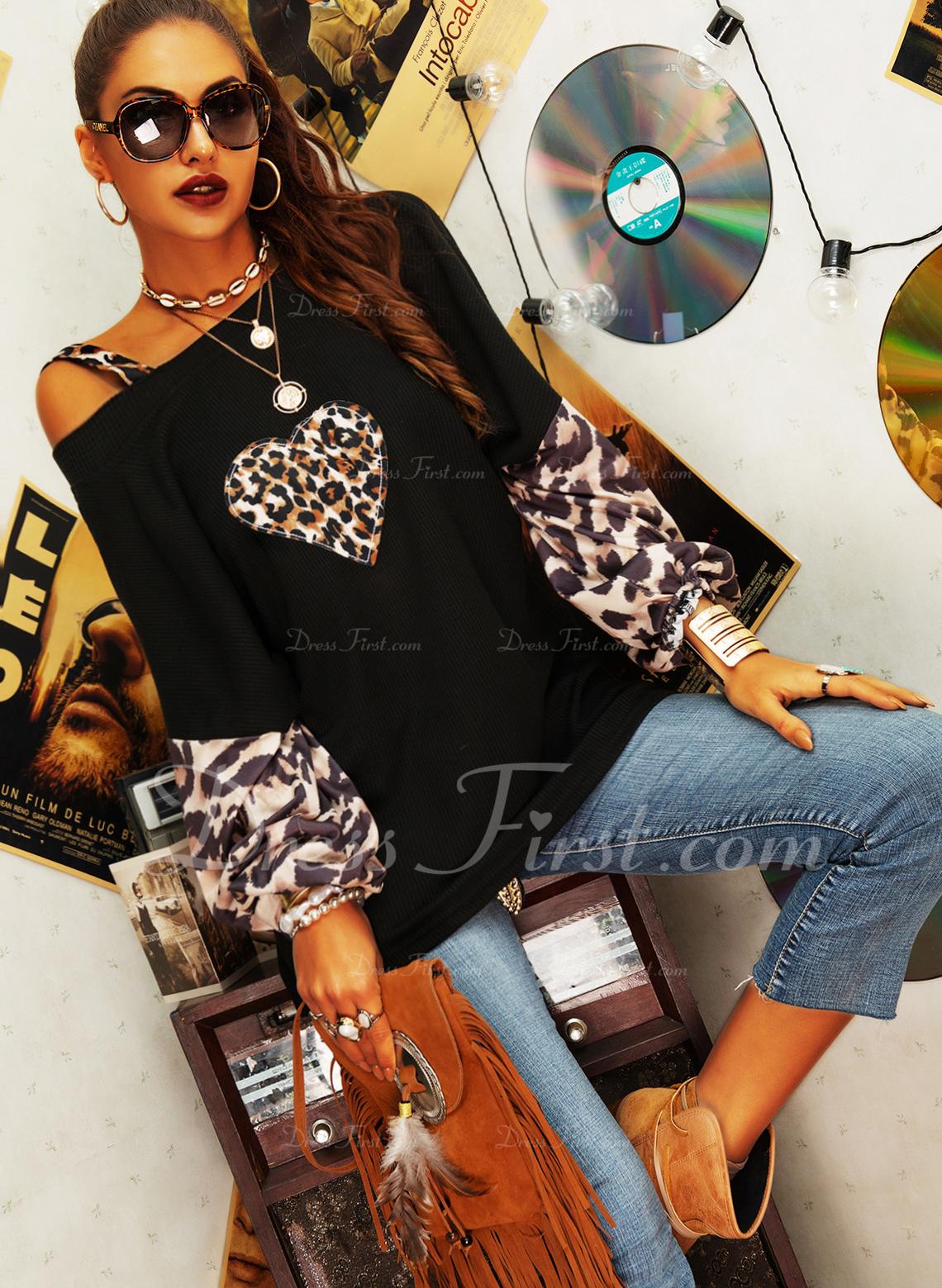 leopardo Stampa Una spalla Manica a lanterna Maniche lunghe Casuale Camicie