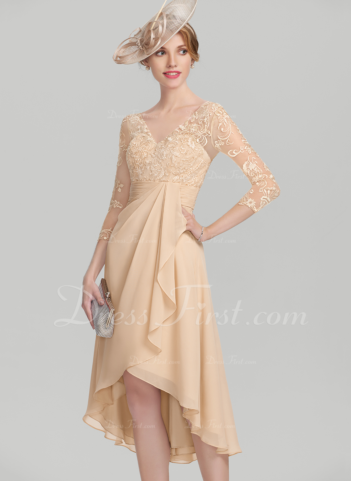 741badb8bc Loading zoom. Loading. Color: Champagne. A-Line/Princess V-neck  Asymmetrical Chiffon Lace Mother of the Bride Dress With Cascading ...