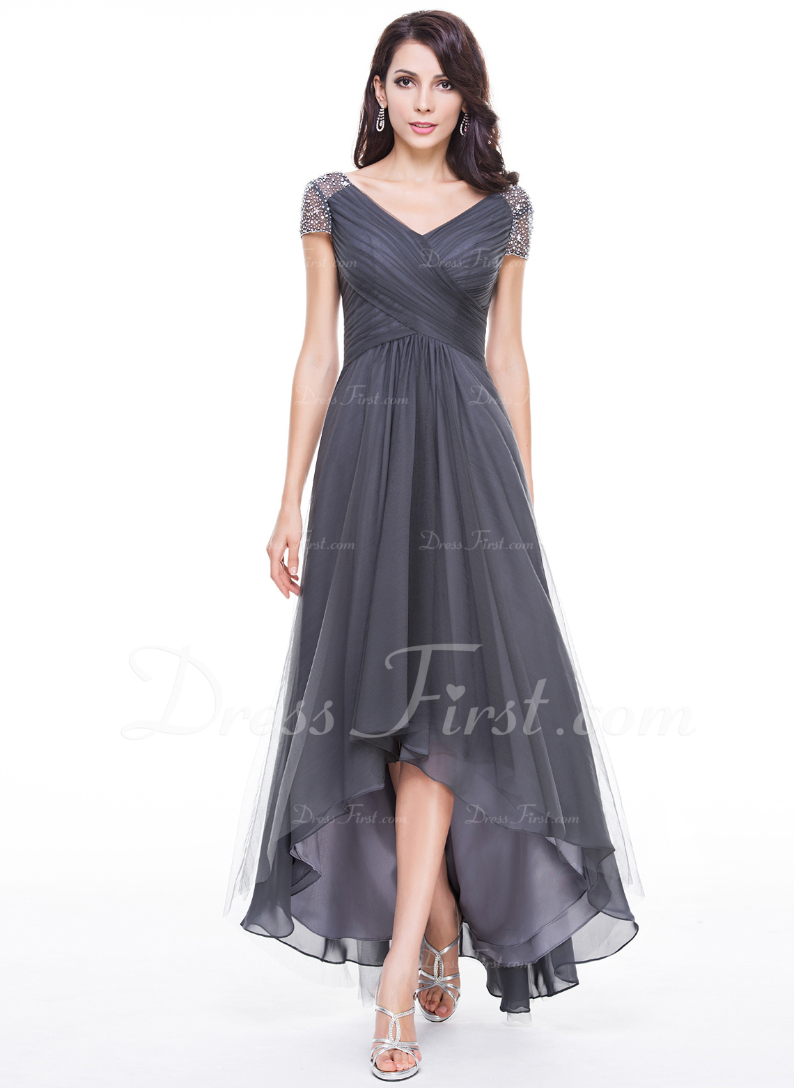 A-Line V-neck Asymmetrical Tulle Mother of the Bride Dress With Ruffle Beading Sequins