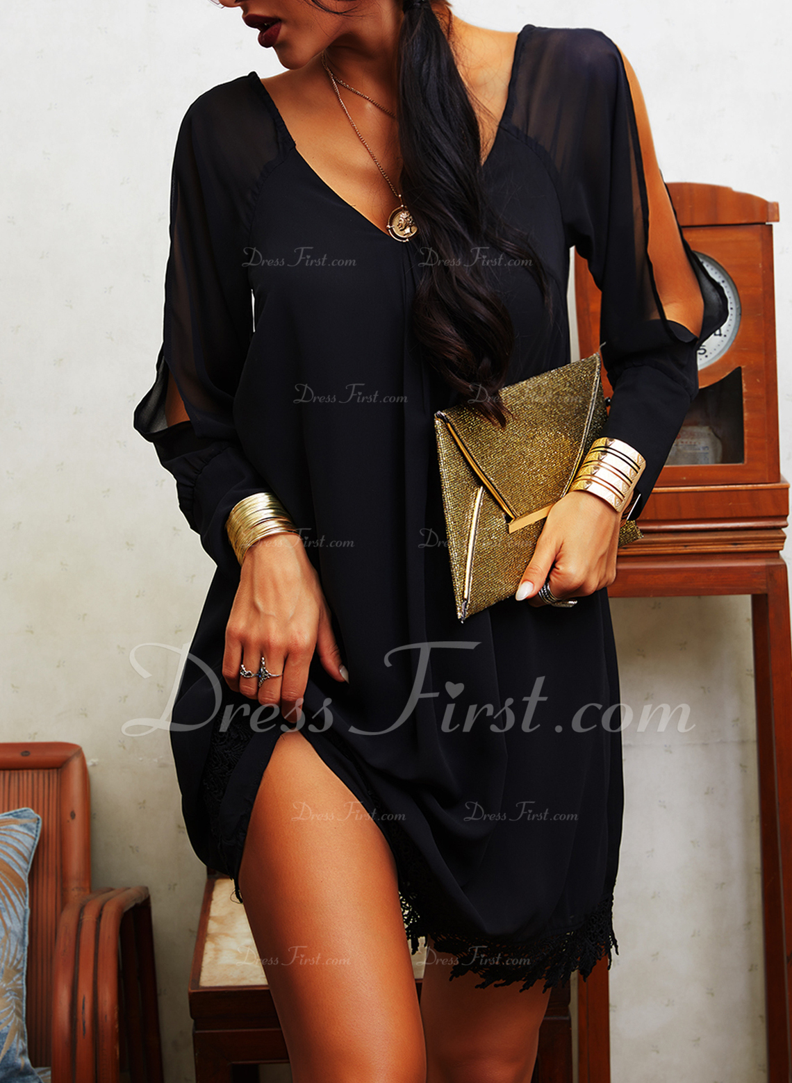 Dantel Solid Shift Elbiseleri Mânecă cu umerii goi Mâneci Lungi Mini Negre gündelik Tatil Tunică Moda Elbiseler