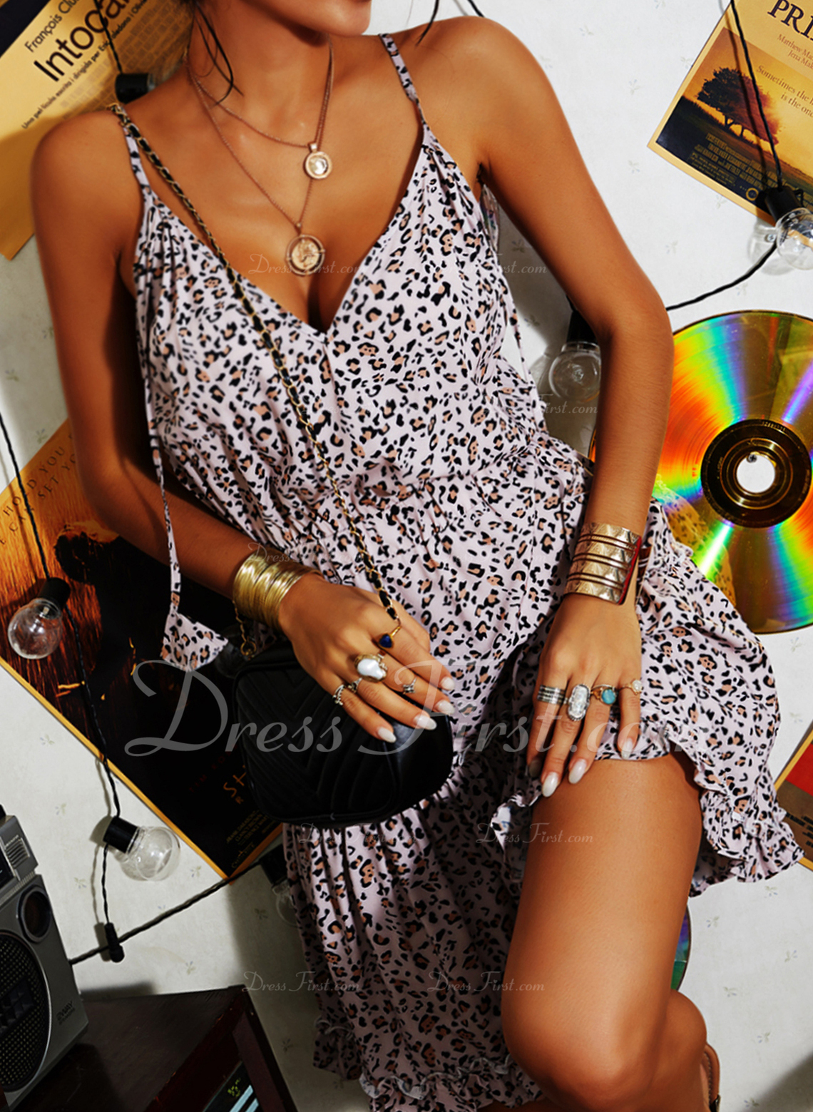 Leopard A-line Sleeveless Mini Casual Skater Type Dresses