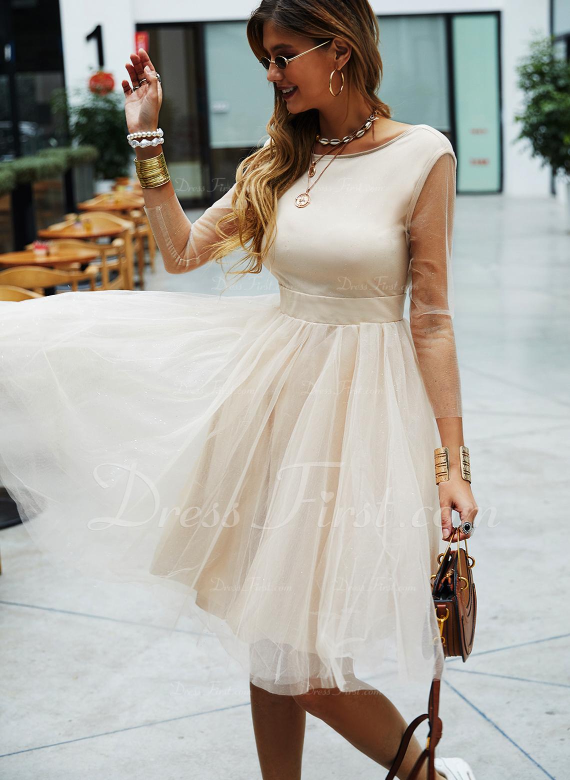 Kjole med A-linje 3/4 ærmer Midi Mode kjoler
