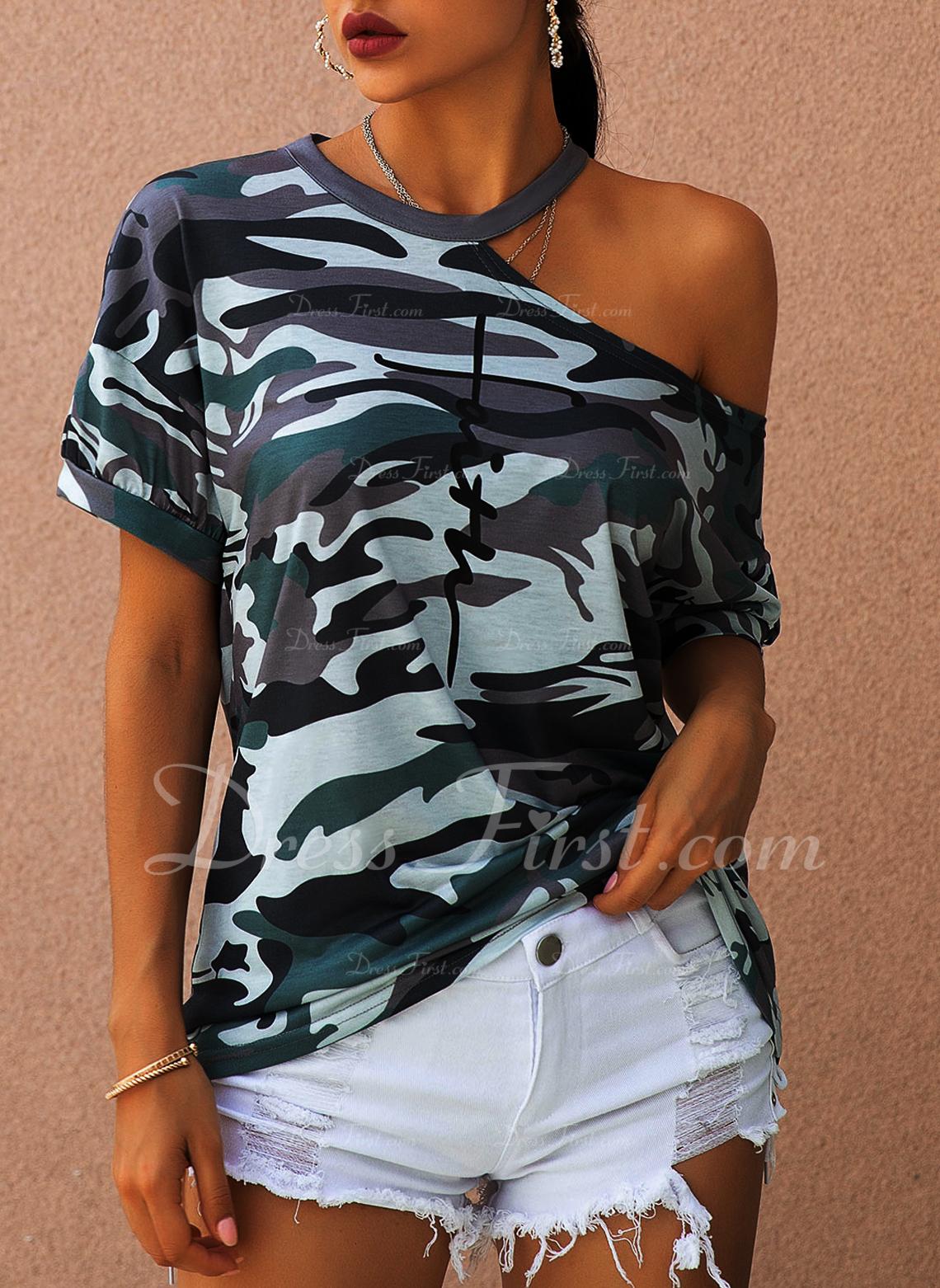 Stampa Una spalla Maniche corte Casuale Camicie