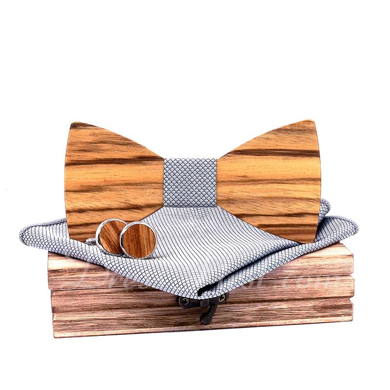 クラシック ビンテージ 木材 ちょうネクタイ カフス ポケットスクエア