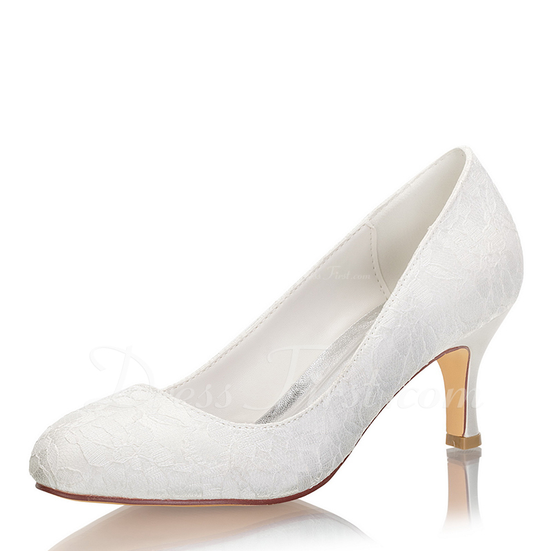 Women's Lace Silk Like Satin Stiletto Heel Closed Toe Pumps