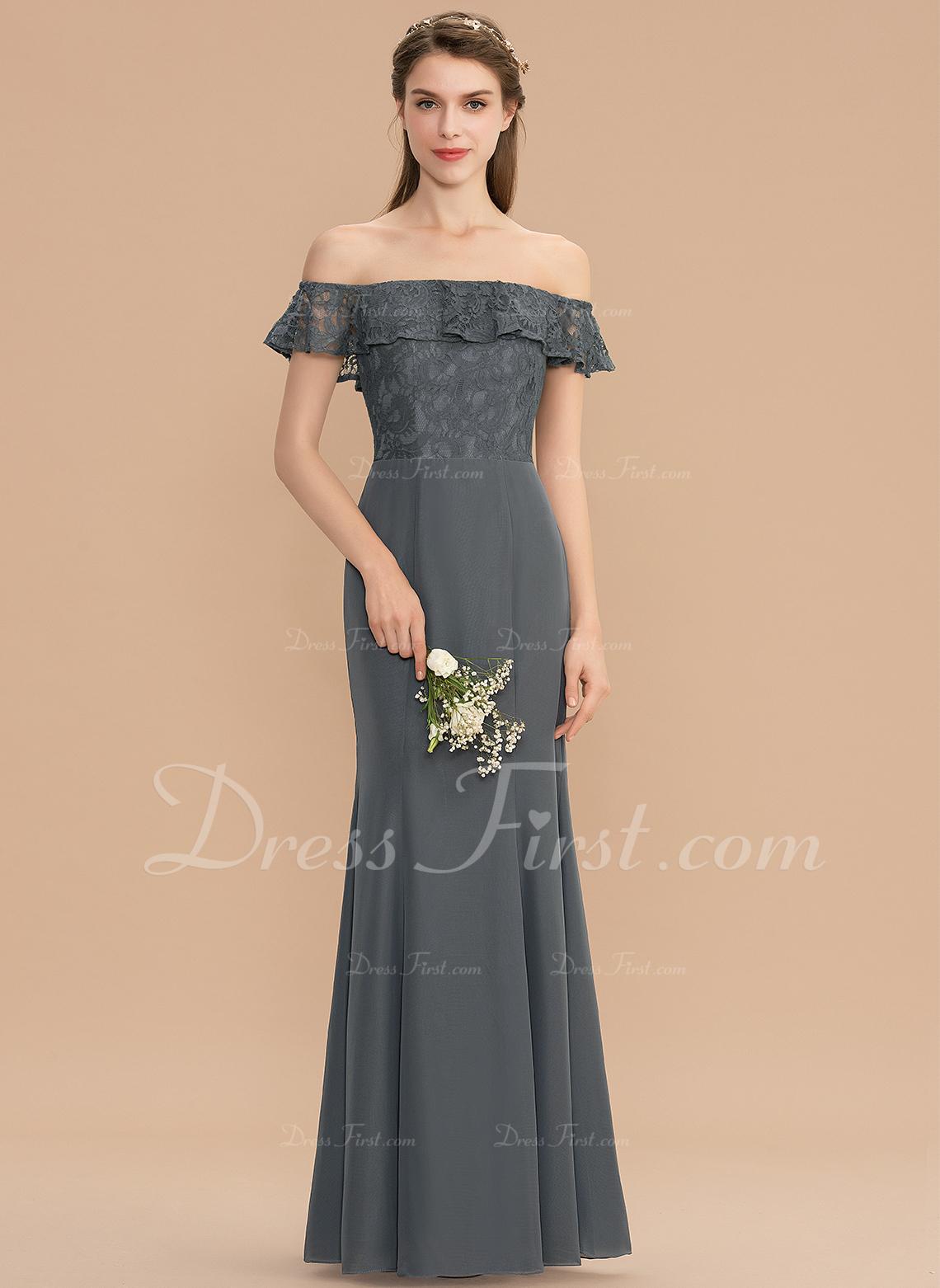 3310a8138423 Trumpet/Mermaid Off-the-Shoulder Floor-Length Chiffon Lace Bridesmaid Dress  #176731