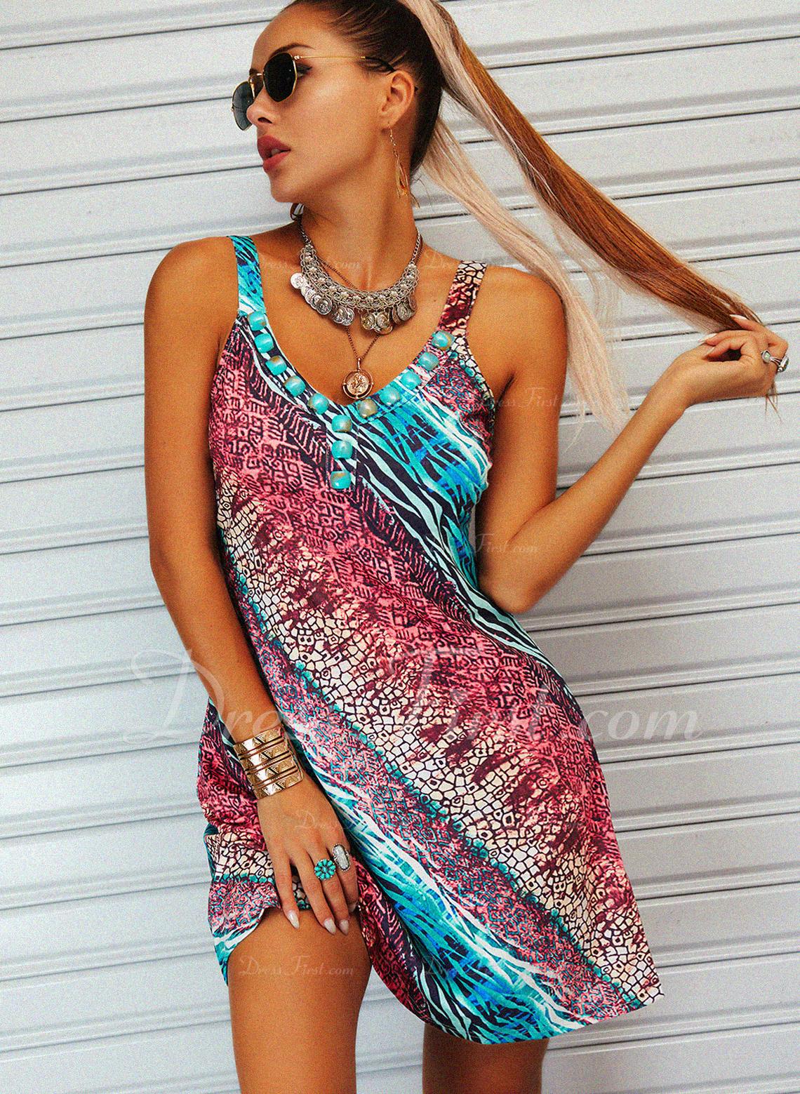 Leopard Print Skiftekjoler Ærmeløs Mini Casual Ferie Mode kjoler