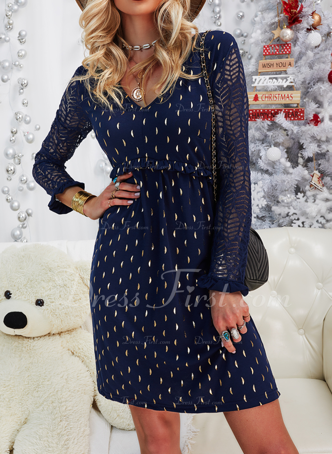 Lace Print Shift Long Sleeves Midi Casual Elegant Tunic Dresses