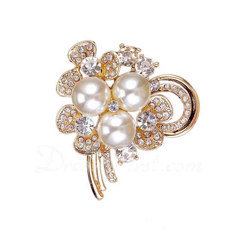 Chic Alliage/Strass/De faux pearl avec Strass/De faux pearl Dames Broche