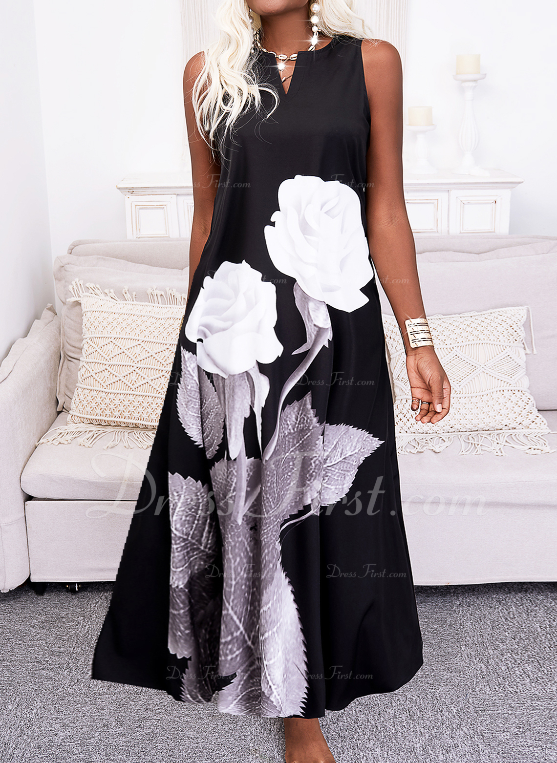 Floral Impresión Vestidos sueltos Sin mangas Maxi Casual Vestidos de moda
