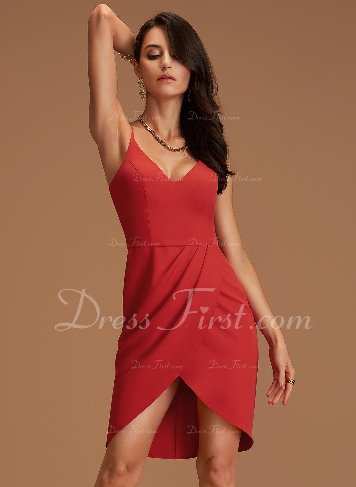Fodral V-ringning Ärmlös Asymmetrisk Ryggdetaljer Sexig Modeklänningar
