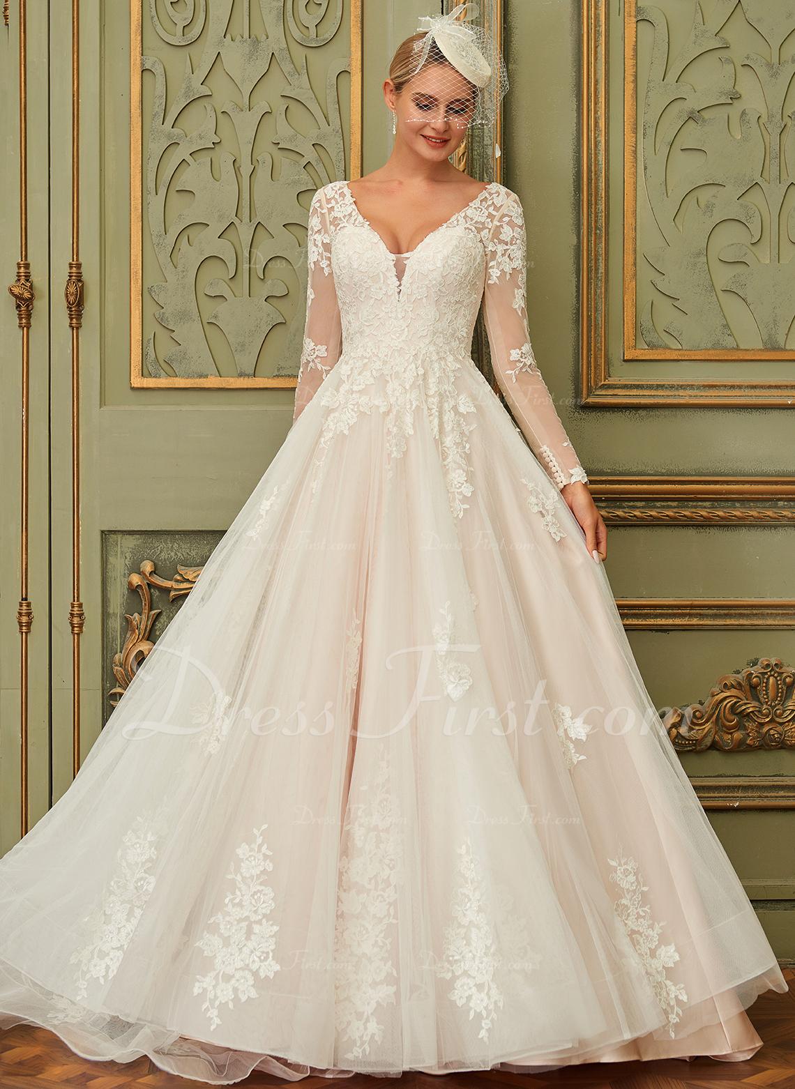 Balklänning/Prinsessa V-ringning Court släp Tyll Spets Bröllopsklänning