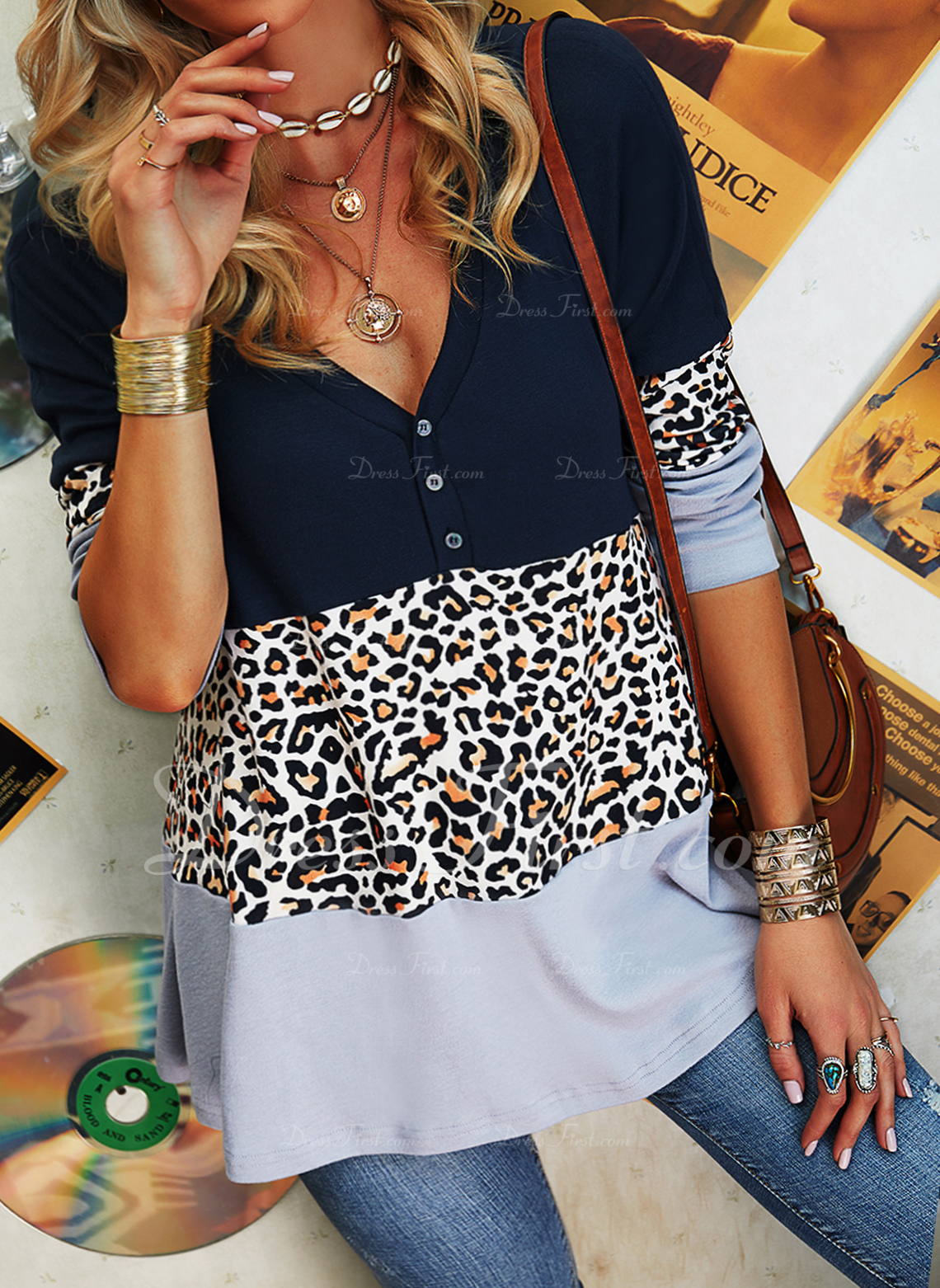 Leopard Color Block V-Neck Long Sleeves Button Up Casual Blouses