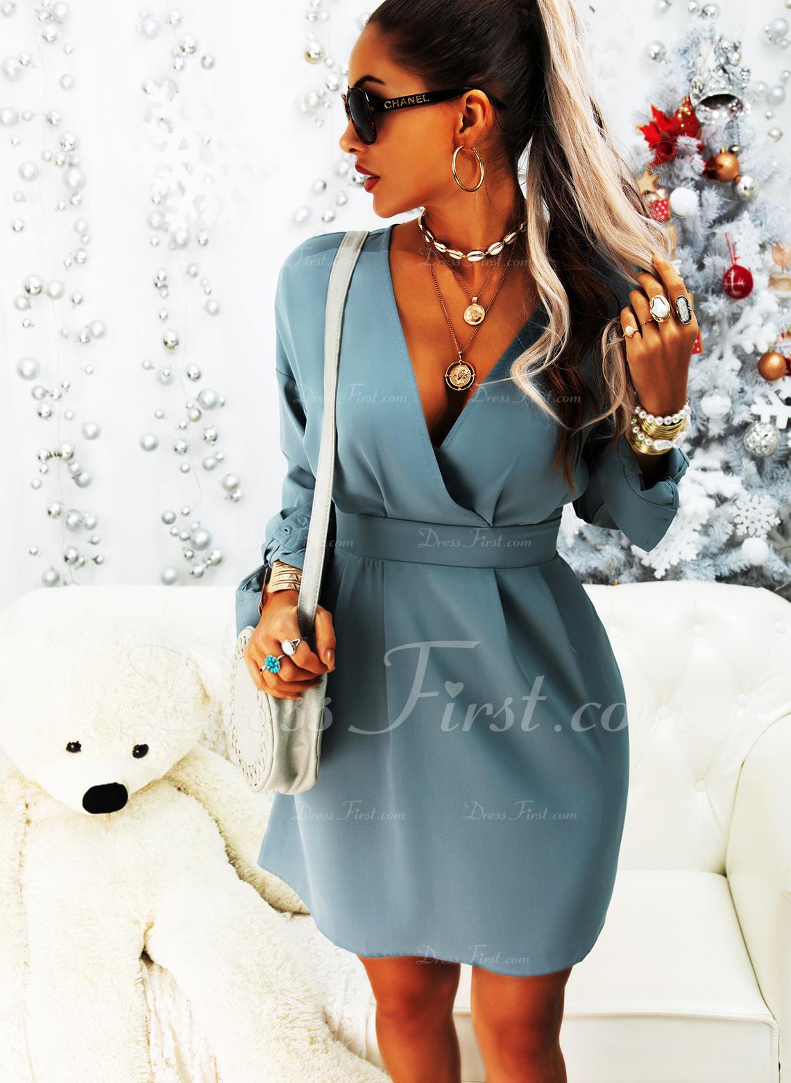 Einfarbig A-Linien-Kleid Lange Ärmel Mini Lässige Kleidung Elegant Skater Modekleider
