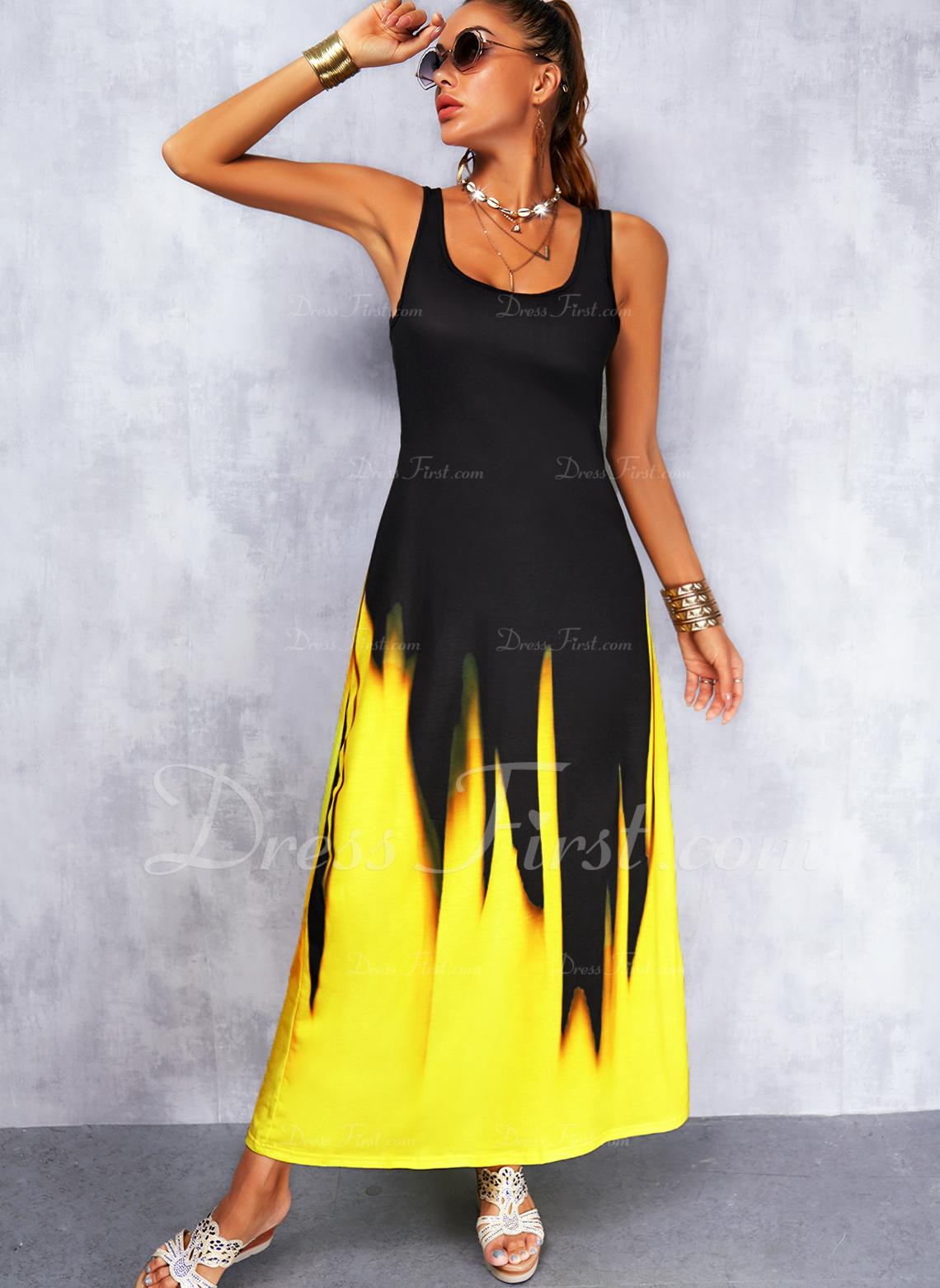 Impresión Degradada Vestidos sueltos Sin mangas Maxi Casual Franelilla Vestidos de moda