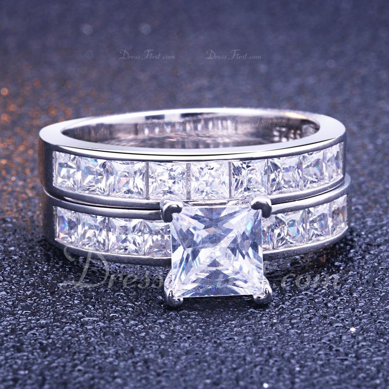 Sterling Silver Cyrkonia Aureola Zabytkowe Princess Cut Pierścionek zaręczynowy Zestawy ślubne