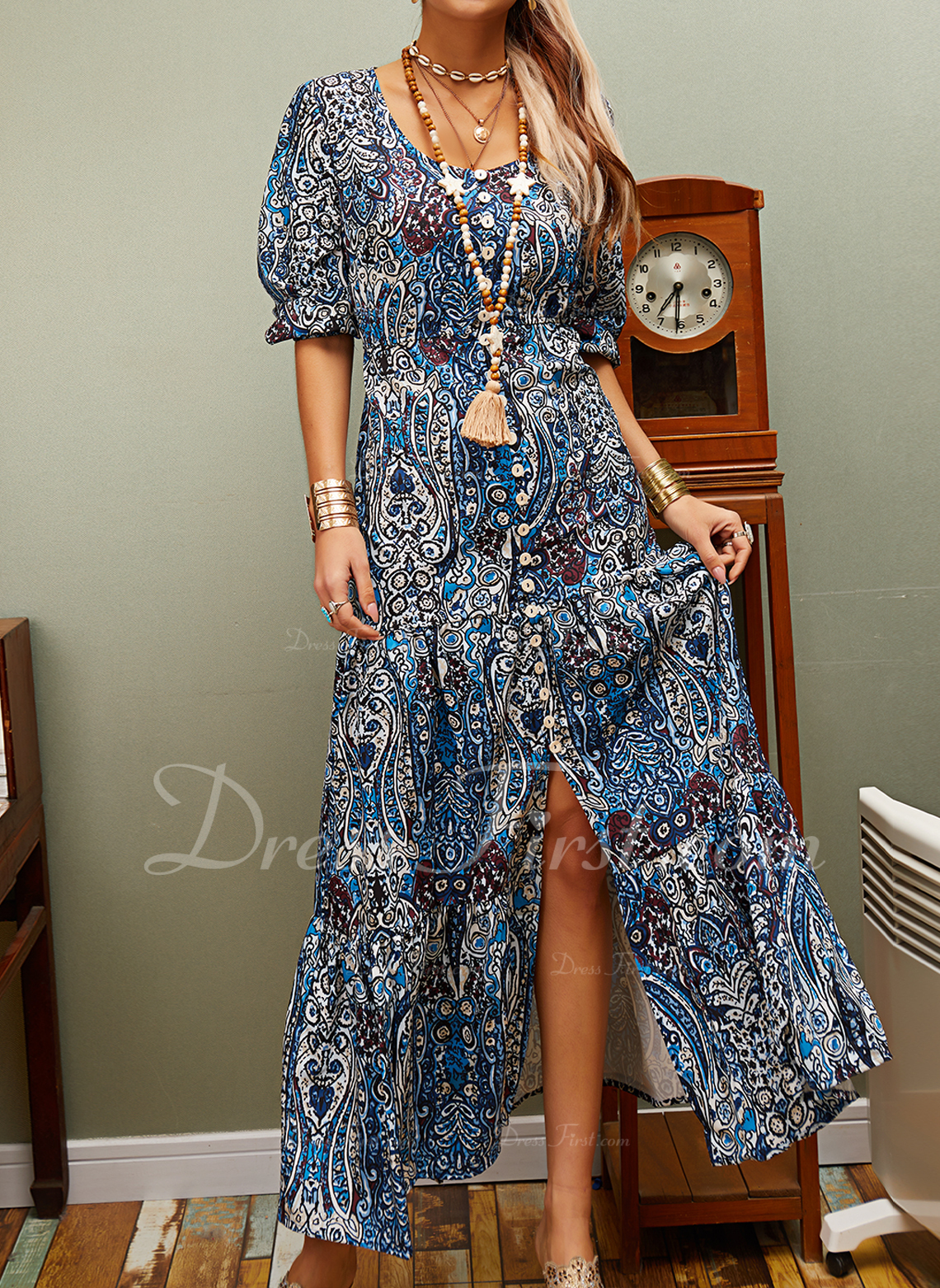 Floral Print Shift 3/4 Sleeves Maxi Boho Casual Vacation Dresses