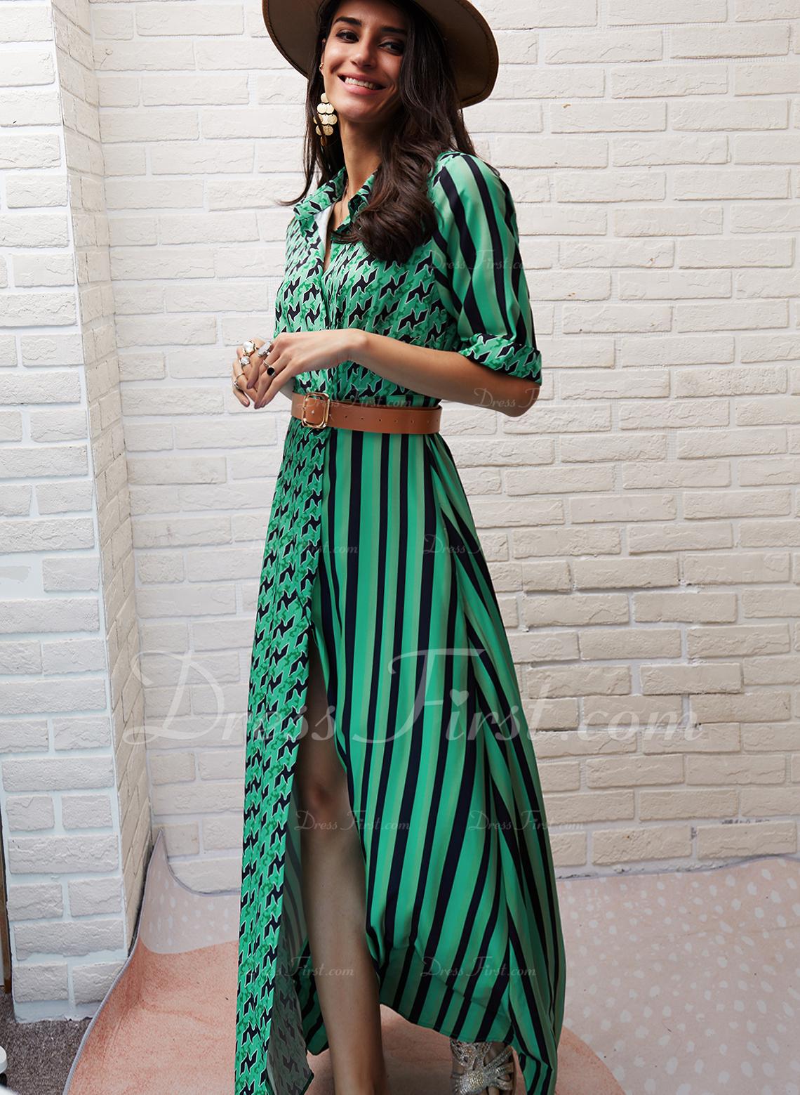 PolkaDot Print Rand A-linjeklänning 1/2 ärmar Maxi Fritids Semester Skjortklänningar skater Modeklänningar