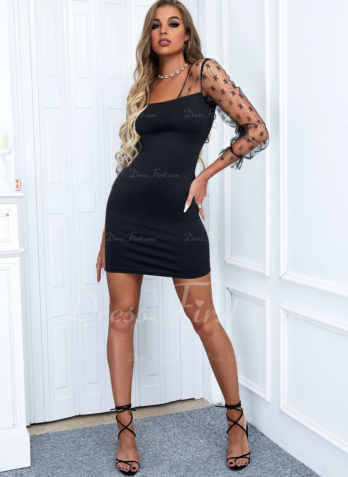 Solid Bodycon Long Sleeves Mini Little Black Elegant Dresses