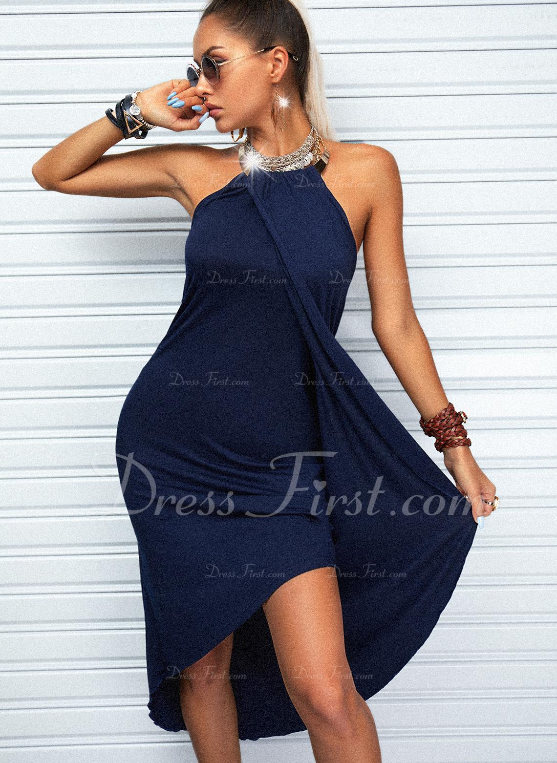 Sólido Vestido línea A Asimétrico Sin mangas Casual Patinador Vestidos de moda
