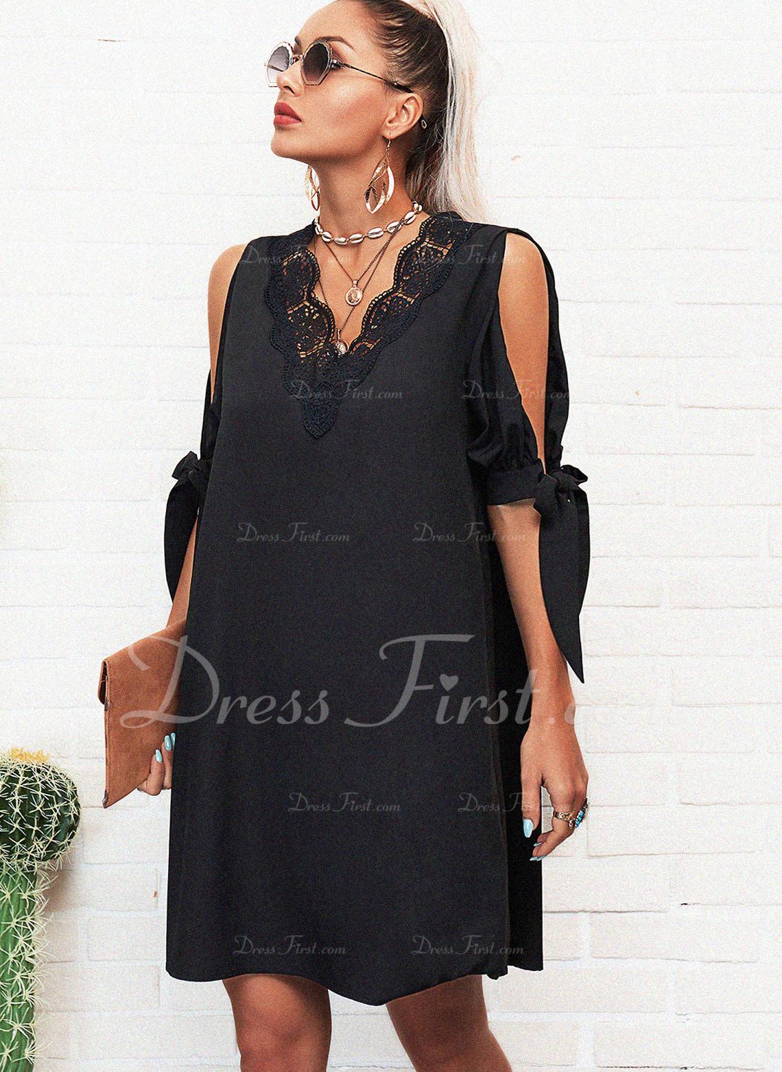 Lace Solid Shift 1/2 Sleeves Split Sleeve Mini Little Black Casual Tunic Dresses