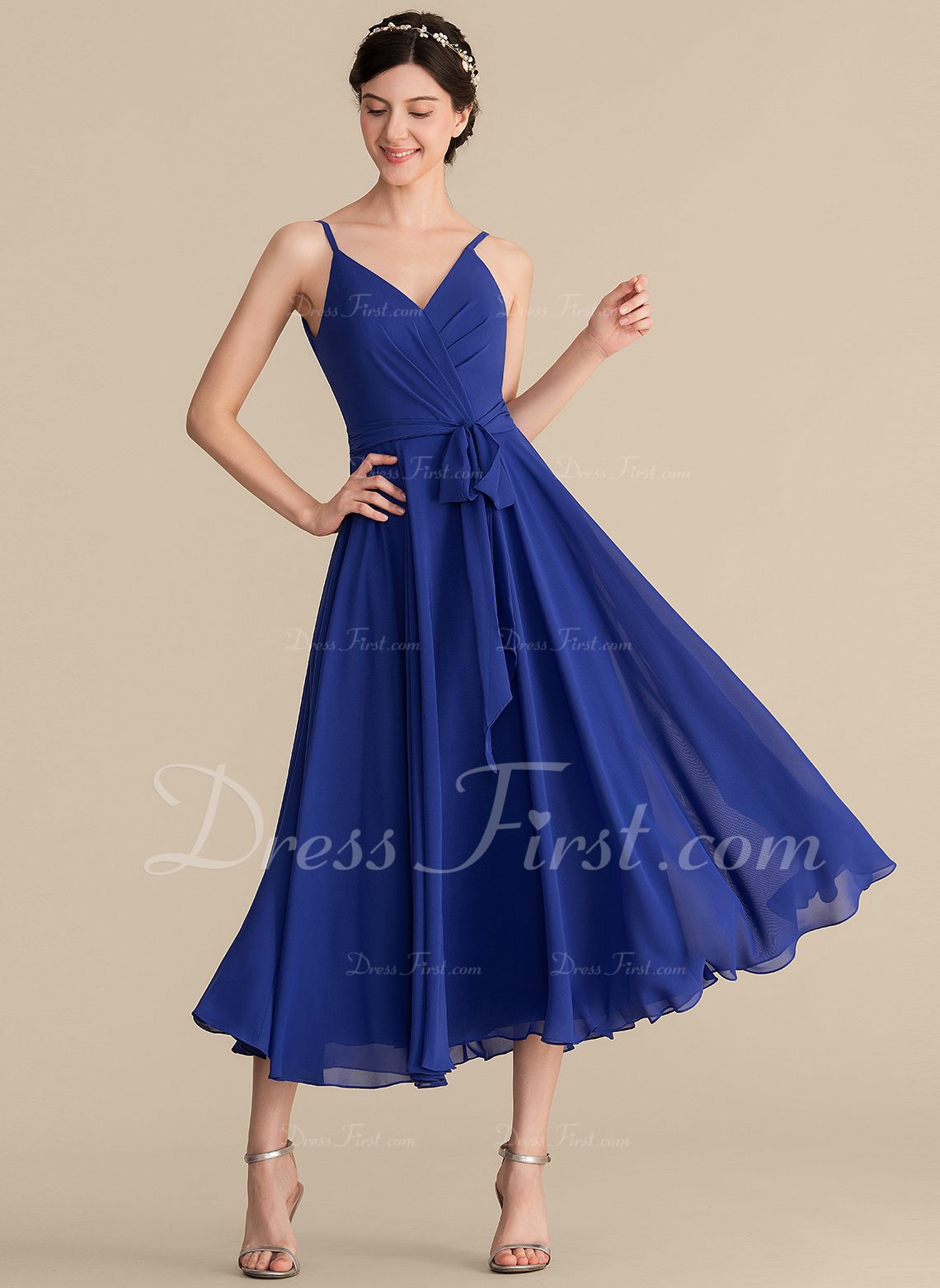 251041e3d1c Loading zoom. Loading. Color  As Picture. A-Line Princess V-neck Tea-Length  Chiffon Bridesmaid Dress With Ruffle ...