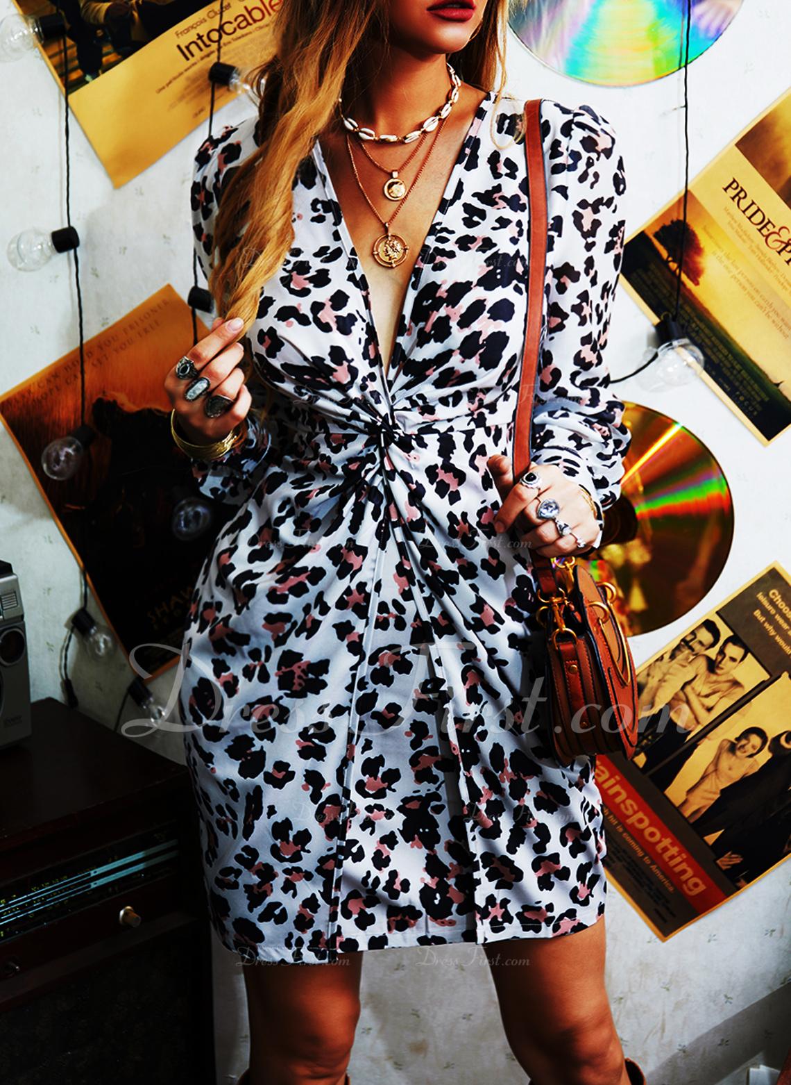 Leopard V-Ausschnitt Lange Ärmel Puffärmel Mini Modekleider