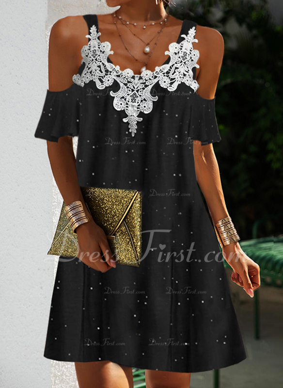 Impresión Vestidos sueltos Mangas 1/2 Mini Elegante Vestidos de moda