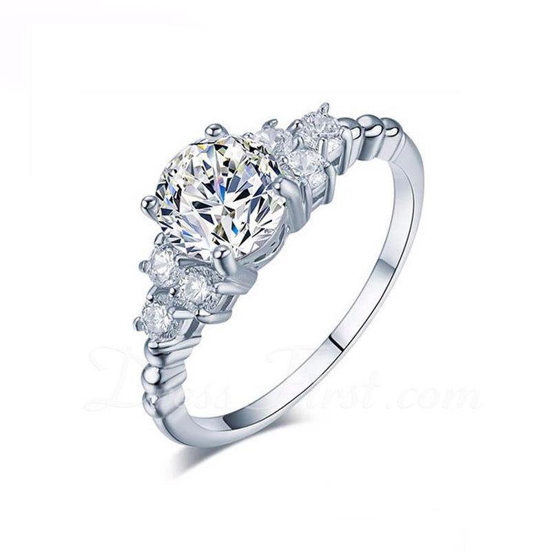 Sterling zilver Zirconia Sierlijk Wijnoogst Ronde Snede Verlovings ringen Belofte ringen