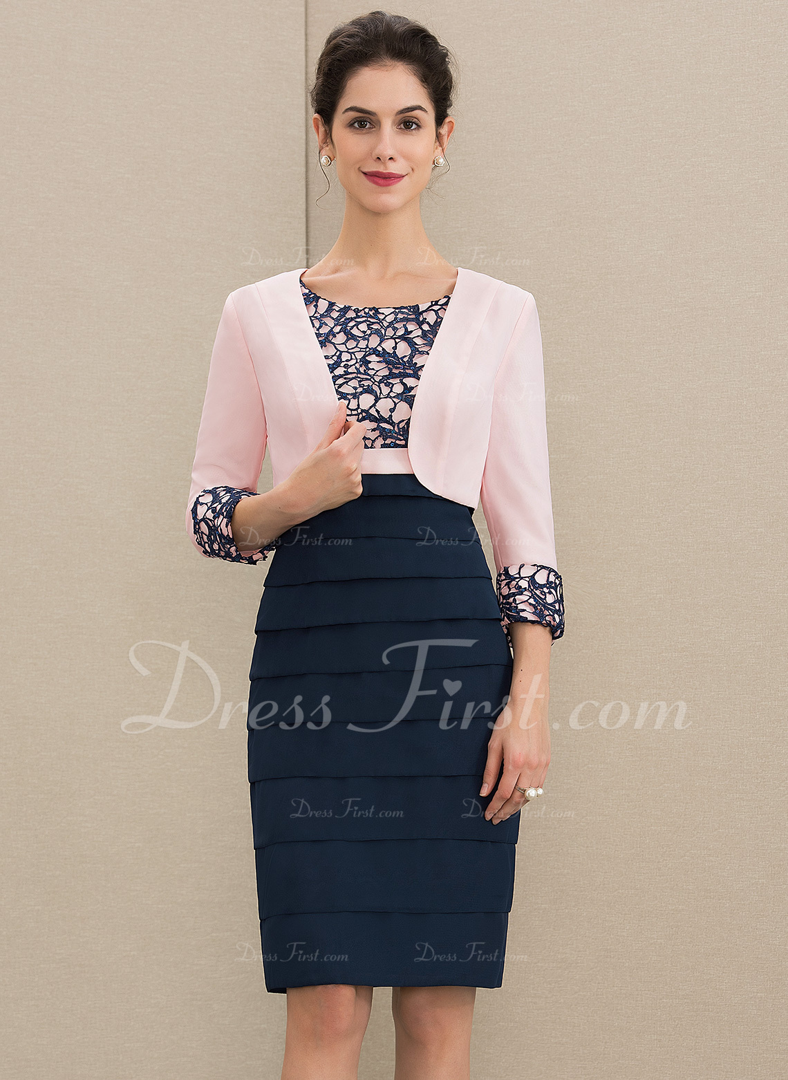 Sheath/Column Scoop Neck Knee-Length Chiffon Lace Mother of the Bride Dress With Sequins