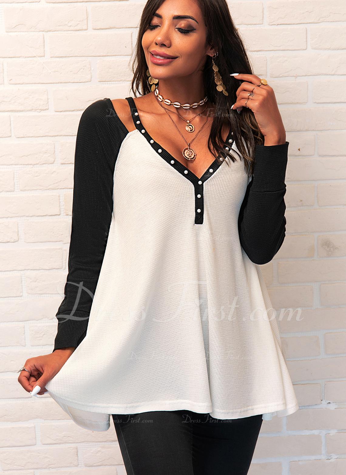 Perlebrodering Color Block V-hals Lange ærmer Casual Skjorter