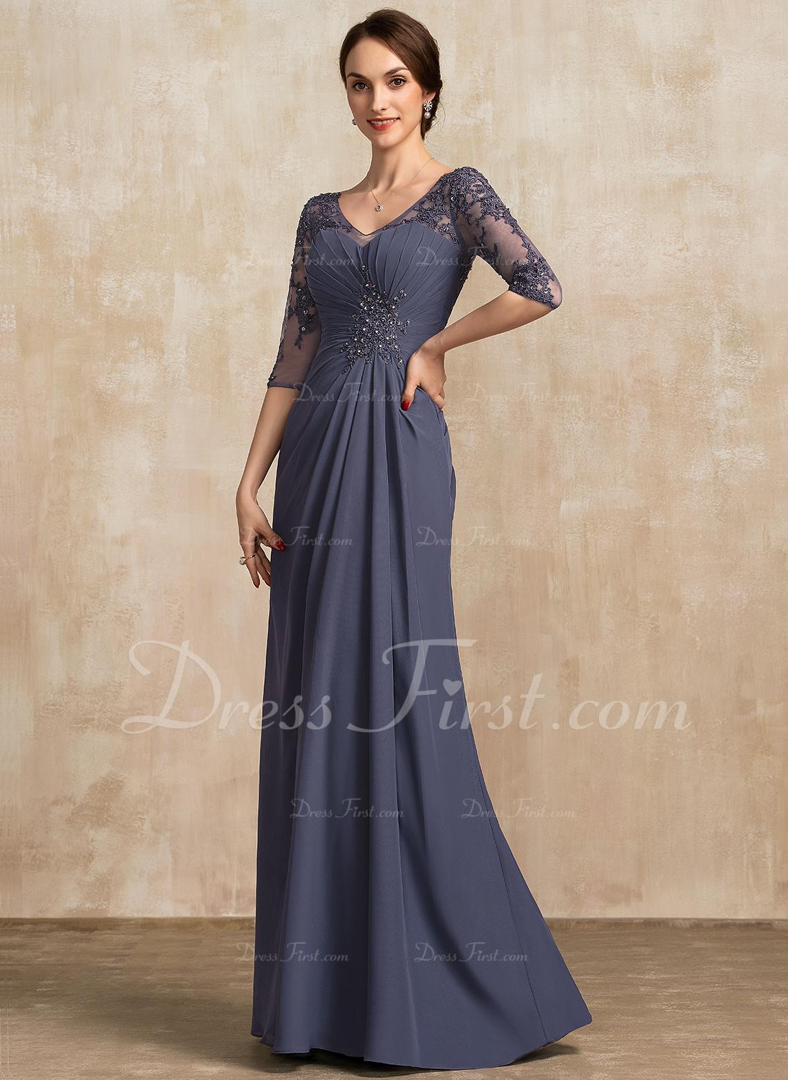 [€ 20.20] A-Linie V-Ausschnitt Bodenlang Chiffon Spitze Kleid für die  Brautmutter mit Rüschen Perlstickerei Pailletten - JJsHouse