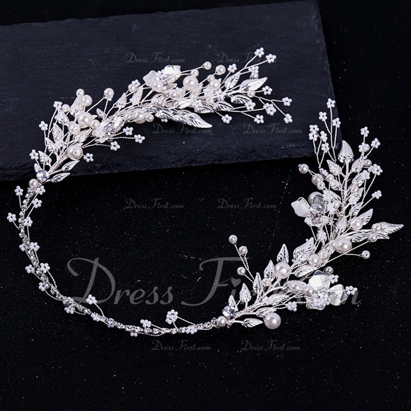 Ladies Glamourous Alloy/Imitation Pearls Headbands With Venetian Pearl (Sold in single piece)