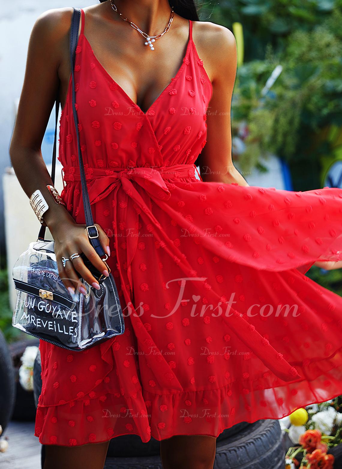 Solid A-linjeklänning Ärmlös Mini Party Sexig skater Typ Modeklänningar