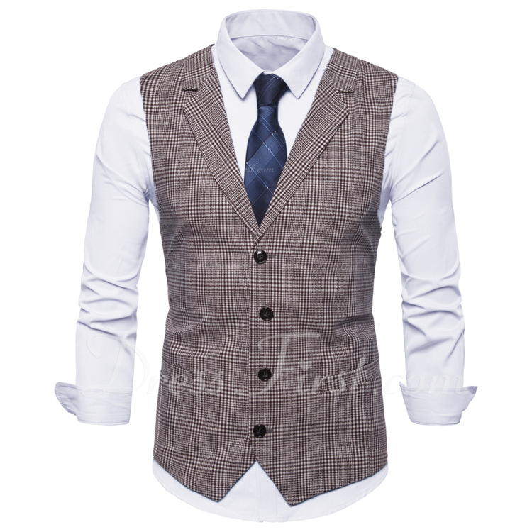 Plaid Polyester Cotton Men's Vest