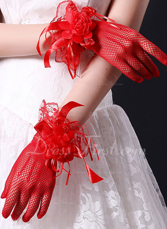 Encaje Muñeca Largo Guantes de novia con Flor de encaje