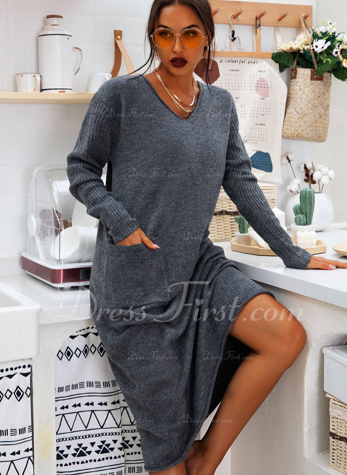 V-Neck Casual Long Solid Pocket Sweaters