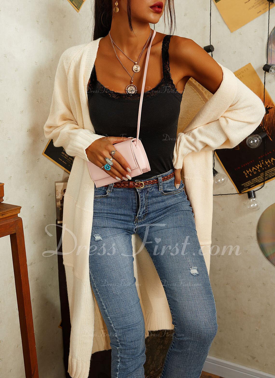 Lässige Kleidung Lange Einfarbig Taschen Pullover