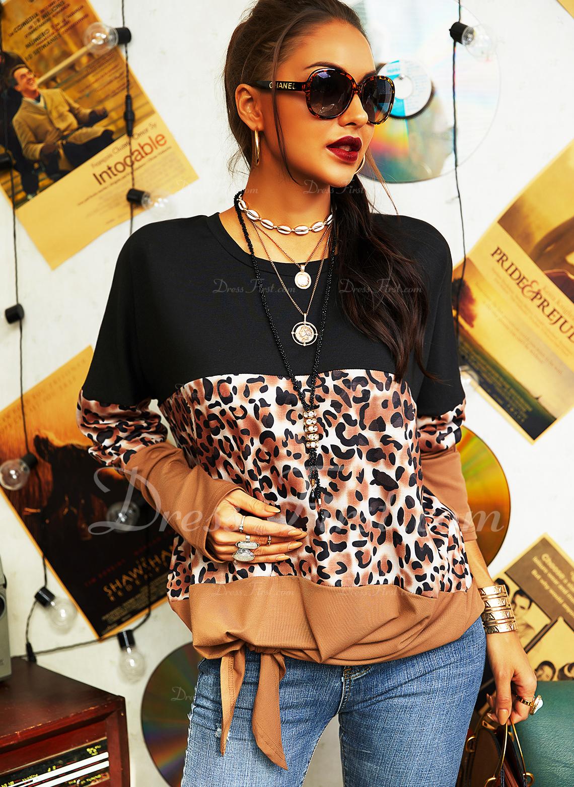 Leopard Color Block Rund hals Lange ærmer Casual Skjorter