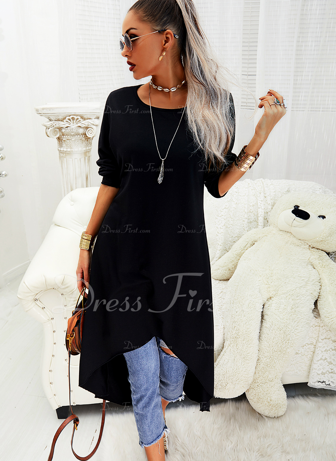 Solid Shift Long Sleeves Asymmetrical Little Black Casual Tunic Dresses