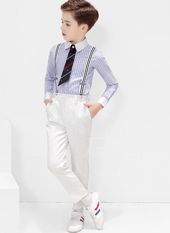 Rapazes 4 peças Clássico Roupas de Pajem /Ternos Menino Página com Camisa calça Gravata Suspender