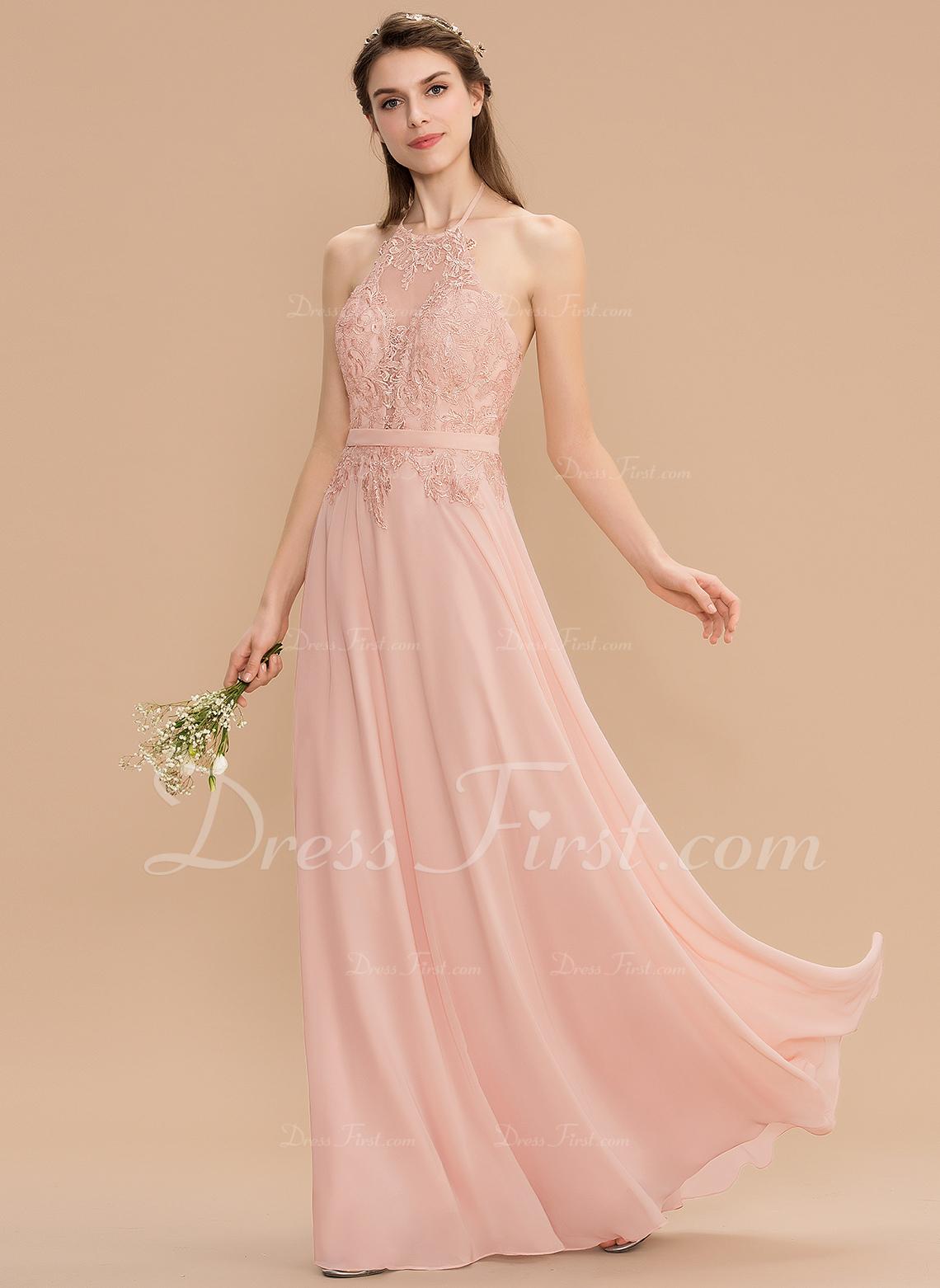 60ea3eebfb0 Bridesmaid Dresses   176763. Loading zoom. Loading. Color  Pearl Pink. A-Line  Halter Floor-Length Chiffon Lace ...
