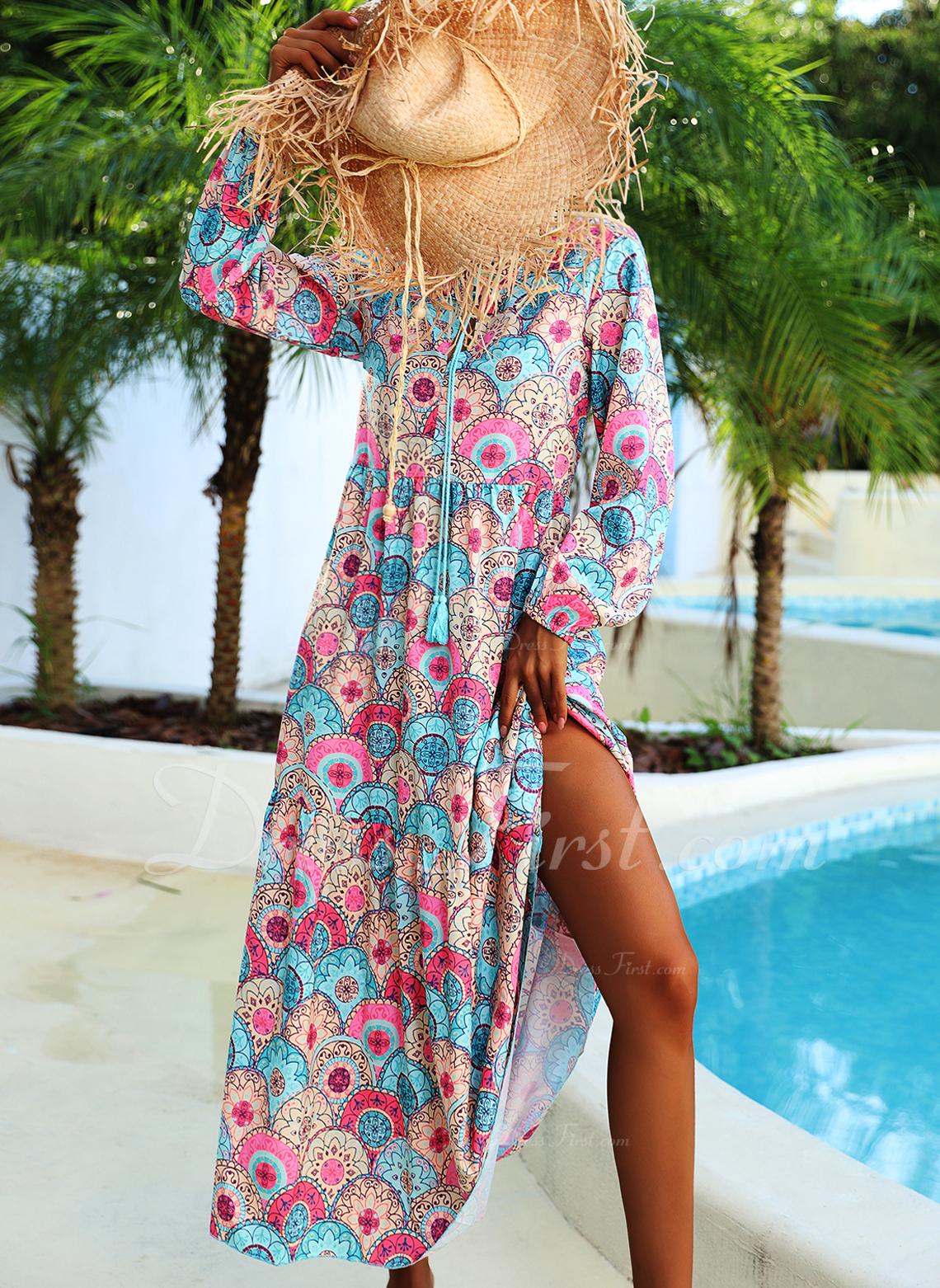 Print Skiftekjoler Lange ærmer Maxi Boho Casual Ferie Mode kjoler