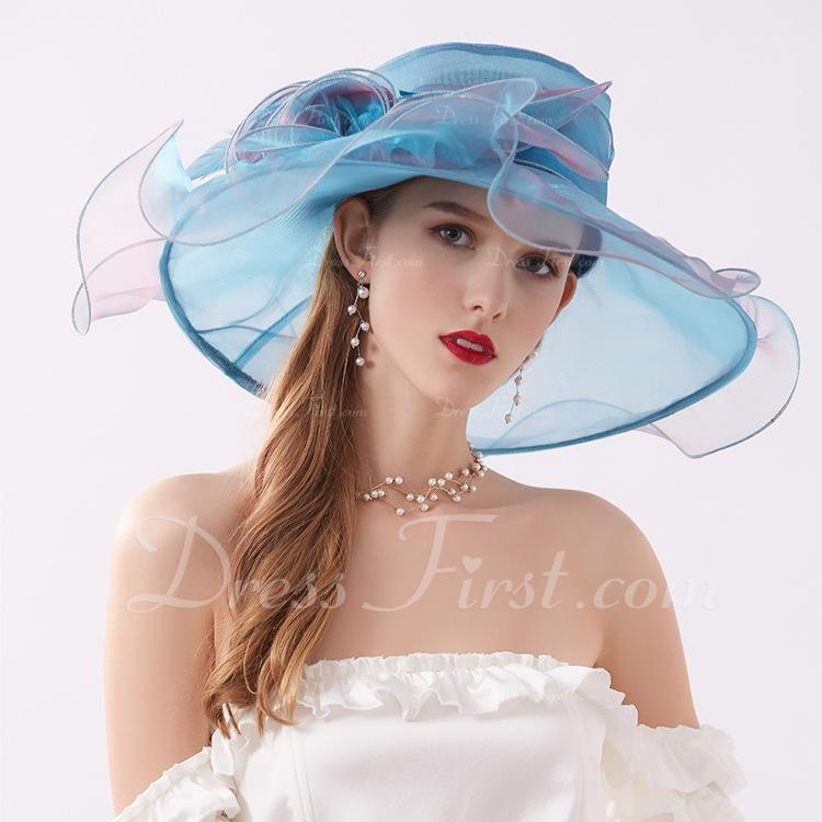 Señoras' Elegante/Encanto Hilado de la red con Flor Sombreros Playa / Sol/Derby Kentucky Sombreros/Sombreros Tea Party