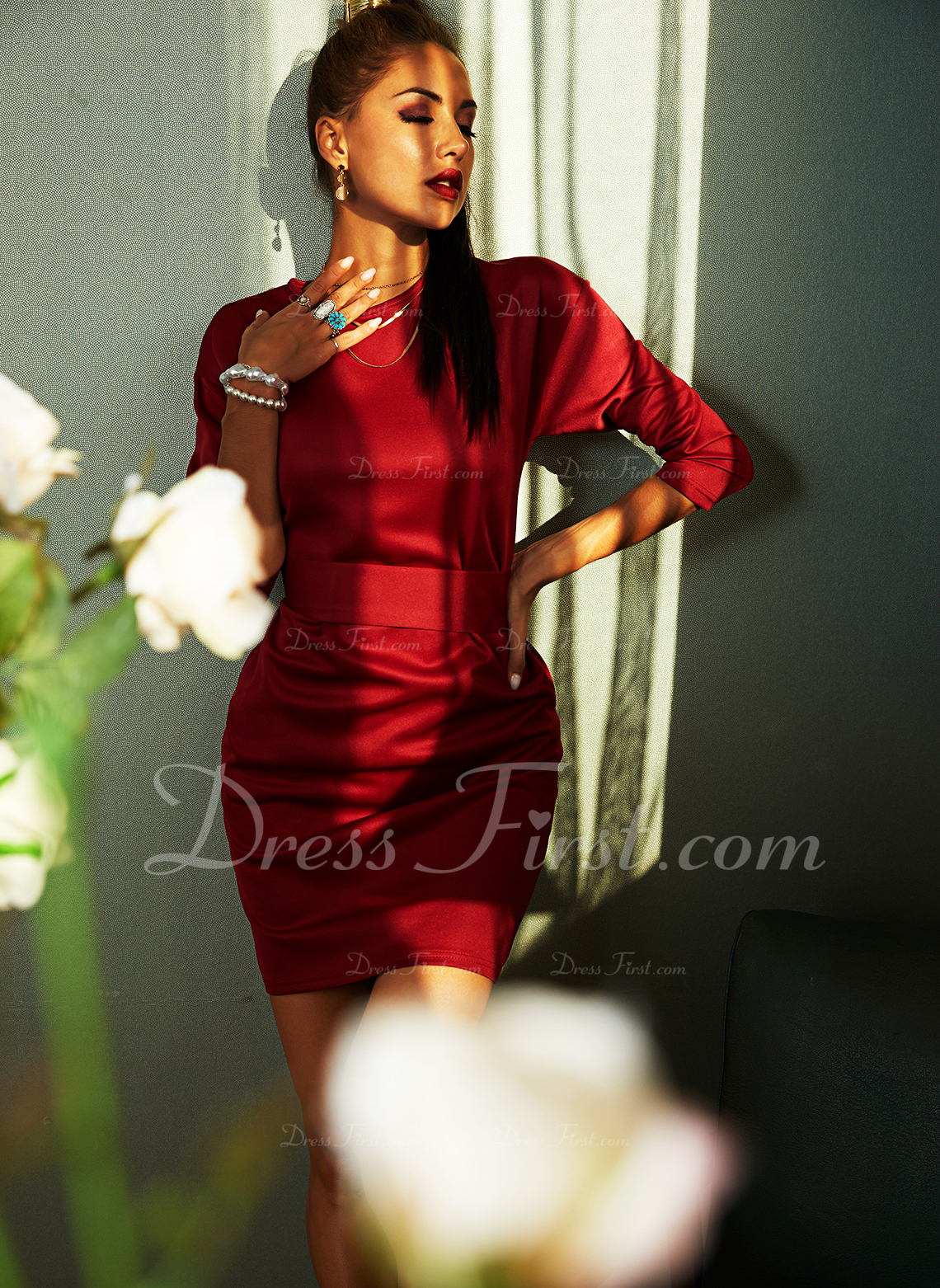 Solid Skede 3/4 ærmer Midi Den lille sorte Casual Elegant Mode kjoler