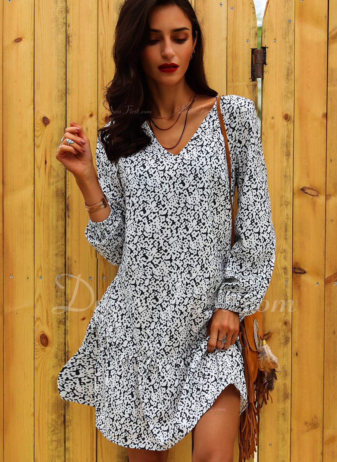 Blommig Print Shiftklänningar Långa ärmar Mini Fritids Semester Tunika Modeklänningar